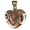 Om Heart Locket w/ Heart stone - 3473