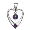 Heart w/ Amethyst Gemstone & Faceted Bead - 4630