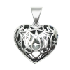 Lotus Heart Locket w/ Heart stone .925 - 4638