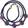 Amethyst Lapis Disk Necklace - 6066