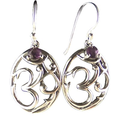 Om - Earrings w/ Amethyst - 3664