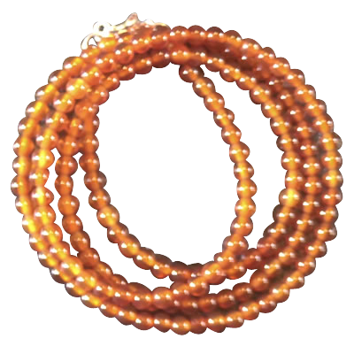 Necklace - Carnelian Orange beads 3mm - 3791