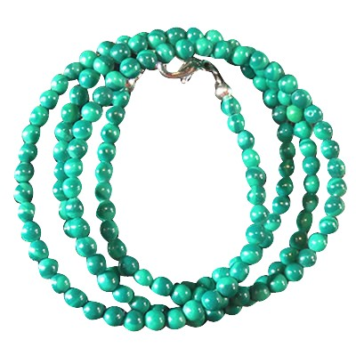 Necklace - Malachite/Green beads 3mm - 4043