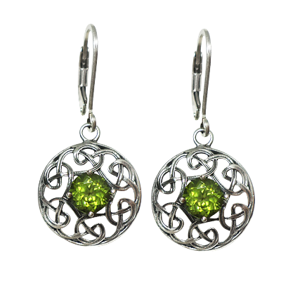 Celtic Raga Earrings w/ Peridot .925 - 4194