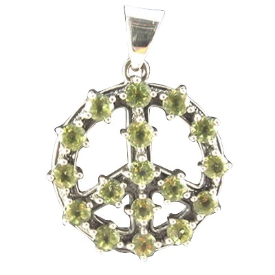 Peace - Green Leaves w/ Peridots .925 - 4221