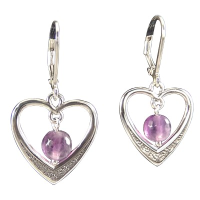 Heart - Faceted Amethyst Earrings - 4282