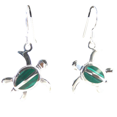 Turtle Malachite (MM) Earrings - 4326