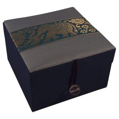 Jewellery Box - Blue Silk - Elephant - Small - 4827