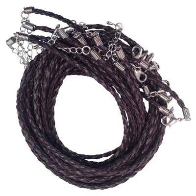 Cord - Black Leather - Braided w/ Extension - 10Pk - 5165