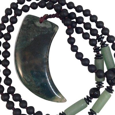Necklace - Moss Agate Sabre Tooth - 5254