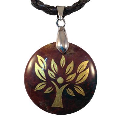 Disk - Tree of Life - Bloodstone w/ Cord- 5304