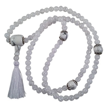 Necklace  - Mala 108 - Ice Crystal/Howlite - 5399