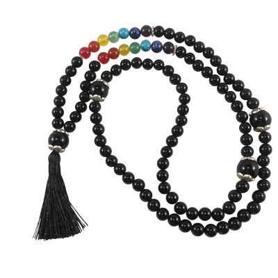 Necklace  - Necklace  - Mala 108 - Chakra Black Agate (Yin) - 5414