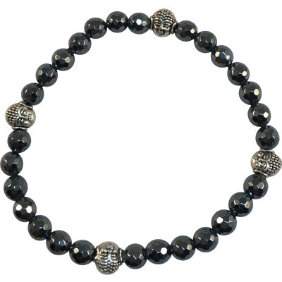 Four Buddhas Happiness Faceted Hematite - 5751